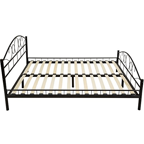 TecTake Double metal bed frame king size modern bedroom + slatted frame - different models - (140x200cm, Black)