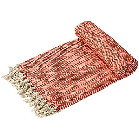 EHC–tejida a mano Reversible Individual Brazo de manta para sofá, diseño de silla 125x 150cms, color naranja