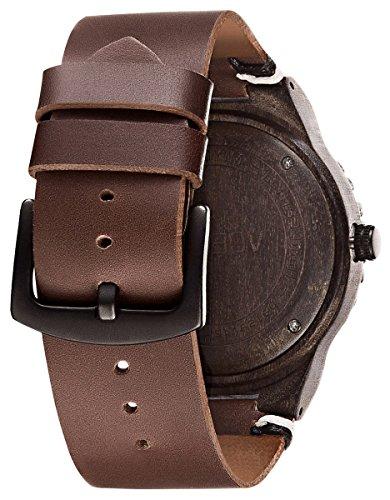 VOEONS Herren Holzuhr - Herren Armbanduhr Leder Holz Herrenuhr Braun
