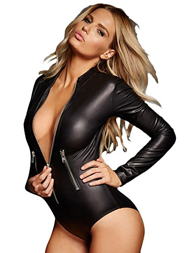 shelovesclothing New Damen schwarz Wet Look Reißverschluss vorne lange Ärmel Monokini Gymnastikanzug Teddy Body Pole Dance (PVC Look) Gr. Medium, schwarz (Langarm Teddy)