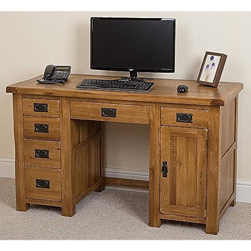 oak desks for home office. Cotswold Rustic Solid Oak Wooden Computer Desk Home Office Furniture, Workstation ( 135 X 60 80 Cm ) Desks For