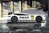 Kinder Autobett Police Polizei weiß mit LED und blinkendem Blau-Rotlicht 90x190 cm