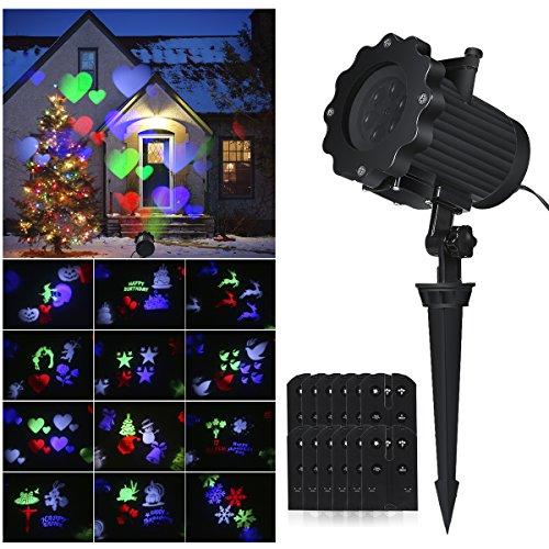 ProGreen LED Projektor Lichter, Farbewechsel Lampe, LED Innen/Außenleuchte mit austauschbaren 12 Muster, dynamisch/statisch Lichteffekt, Wasserdicht IPX4, Motiv-Lampe, Party Lichter, Gartenleuchte geeignet für Weihnachten, Festen, Party Wand-Dekoration usw. (LED Projektor Lichter)