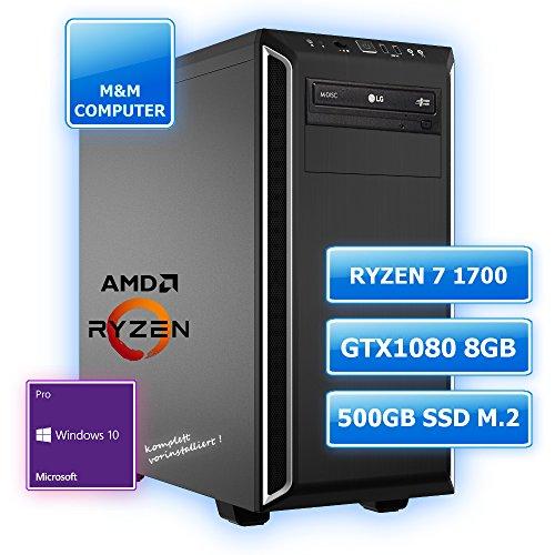M&M Computer Dresden High End Silent Gaming PC, AMD Ryzen 7 1700 CPU (EightCore/Octa-Core), GeForce GTX 1080/8GB Gaming Grafikkarte, VR+4K ready, 512GB SSD M.2 (NVMe), 16GB DDR4 RAM 2666MHz, Gigabyte Gamer Mainboard USB 3.1, DVD-Brenner, gedämmtes BeQuiet-Gehäuse, Windows 10 Pro vorinstalliert inkl. Treiber