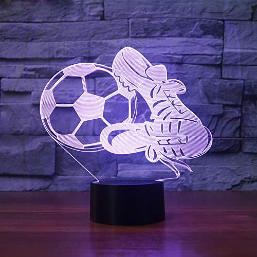 SSYYJJ 3D Illusion Nachtlampe für Kinder Dekoration Geburtstag Geschenk Tischlampen Soocer Fußballschuhe mit Fernbedienung