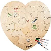 Geschenke 24: Alternatives Gästebuch – Herz: Dekoratives Holzpuzzle als kreatives Gästebuch zur Hochzeit