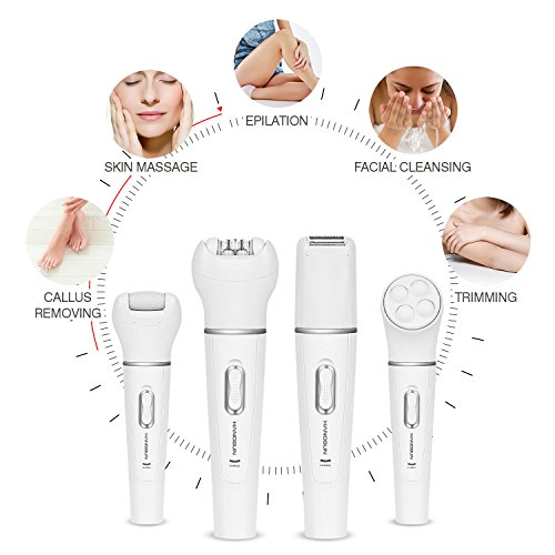 [ 4 in 1 ] Hangsun Epilator F410 Hair Removal Kit Cordless Rechargeable Lady Shaver Wet and Dry + Pedicure Hard Skin Remover + Massage Roller for Women Skin Care