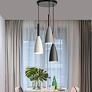 Nordic Modern Pendant Ceiling Light Nordic Macaron Aluminum+Wood Chandelier Fixture Kitchen Pendant Lighting Living Room Pendant Lighting (3 in 1)