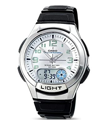 Casio AQ-180W-7BVES - Reloj analógico de caballero de cuarzo con correa negra