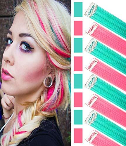 8 pezzi rosa verde acqua Haiepieces Principessa Fun Highlights Estensione capelli colorati Costume Posticci per bambine / bambole