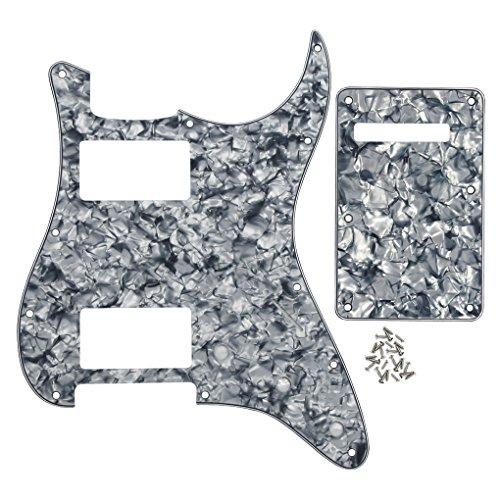 IKN HH Gitarren Schlagbrett 11 Löcher Scratchplate und ST Back Plate Tremolo Cover für American Big Apple/Standard Fender Stract,4-Ply graue Perle