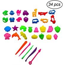 TOYMYTOY Kit de herramientas de masa de arcilla 34pcs con modelos y juguete de desarrollo educativo