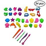 TOYMYTOY 34 Stücke Knetwerkzeug Teig Plastilin Werkzeuge Set mit Ausstechformen Knetmasse Kinder Spielzeug
