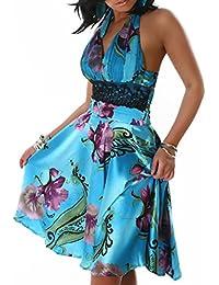 Damen Sommer Neckholder Kleid V-Ausschnitt Push Up Party Cocktail Abend Elegant