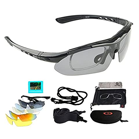 Polarized Sports Sunglasses, UV 400 Protection Unisex Glasses with 5 Sets Interchangeable Lenses, Fishing Skiing Driving Golfing Running Cycling Camping Sports and Outdoors Activities Eyewear for Men and Women