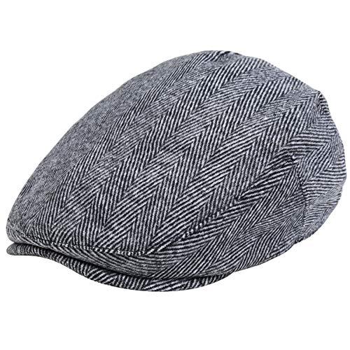 ArtiDeco Barett Cap Herren Schiebermütze Gatsby Schirmmütze Newsboy Flat Cap Baskenmütze 1920 Stil Gatsby Kostüm Accessoires (Grau New, Medium)