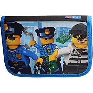 LEGO Bags Astuccio scolastico 20 pezzi pieno, Astuccio Astuccio con LEGO CiTY motivo Police Chopper, Astuccio ca. 20 cm  LEGO