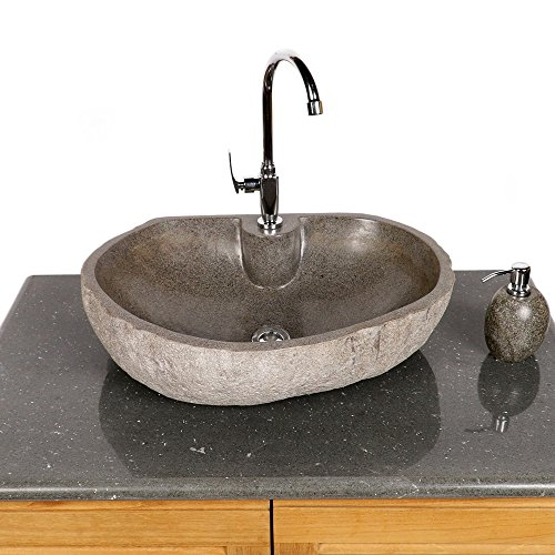 wohnfreuden Stein - Waschbecken Steinwaschbecken 60 cm oval mit gerader Rückwand | Waschtisch für Gäste WC Bad