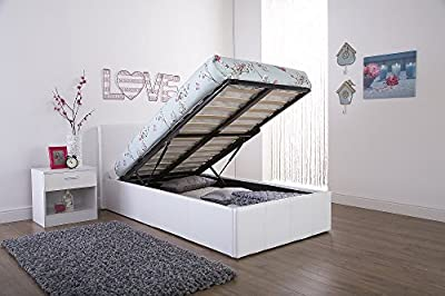 Caspian Ottoman Gas Lift Up Storage Bed - White 3ft Single - inexpensive UK light shop.