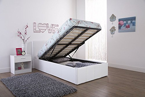 Caspian ottoman gas lift up storage bed white 3ft single - Lift up storage bed ...