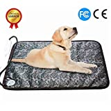 RIOGOO Pet Heating Pad, Dog Cat Electric Heating Pad Waterproof Adjustable Warming Mat with Chew Resistant Steel Cord 28''x17.7''