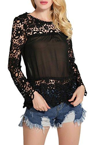 Lettre d'amour les Femmes Lace Vider Patchwork de Base au T - Shirt. Black