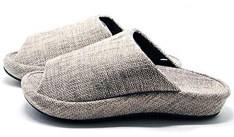 Unisexe à enfiler Chaussons Happy Lily antidérapant Bout ouvert Sandale 3d Structure Mules Robe Tissu de coton Chaussures d'intérieur pour adulte,