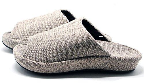 Unisex-Hausschuhe Happy Lily rutschfester offenen Zehen Sandale 3D Struktur Pantoletten Kleid Baumwolle Stoff Indoor Schuhe für Erwachsene, grau (Cinderella Adult Kleid)