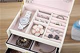 DCCN Schmuckkasten Elegant PU Leder Schmuckkoffer Schmuckschatulle Kosmetikkoffer mit 2 Schubladen Spiegel – Weiß - 9