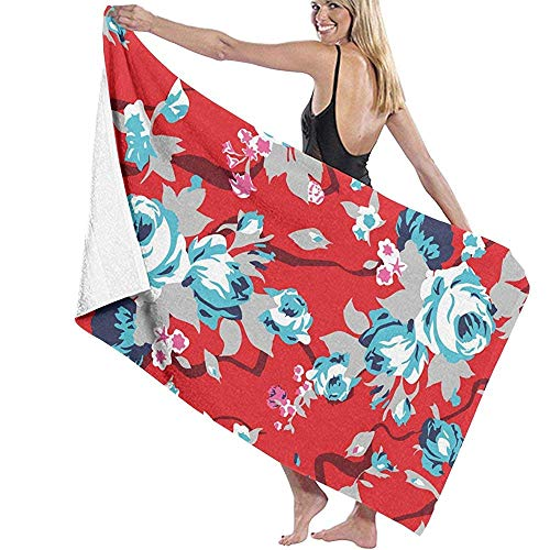 DTZMM Microfiber Beach Towel Vintage Red Chintz Roses Pattern Bath Towel Beach Blanket Quick Dry Towel for Travel Swim Pool Yoga Camping Gym Sport 80 X130 cm Vintage Rose Chintz