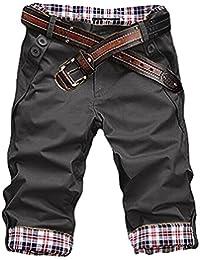 HEMOON Homme Shorts Casual Pantalon Sans Ceinture