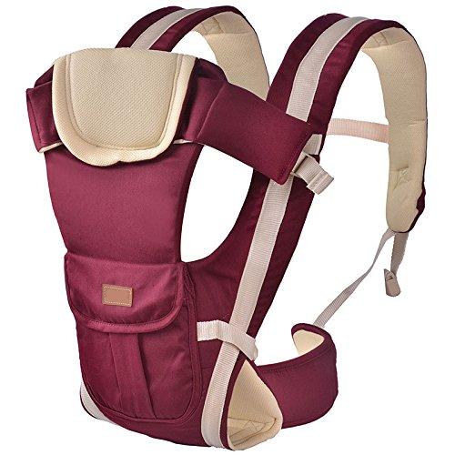 ThreeH Portabebés algodon 4 posiciones de transporte ergonómica de la mochila para niños BC08,Red