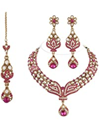 I Jewels Traditional Gold Plated Kundan Necklace Set With Maang Tikka For Women(Rani/Dark Pink)(K7027Q)