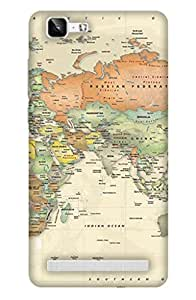 PrintHaat Designer Back Case Cover for Vivo X5 pro :: Vivo X5 pro (map of the world on cream background)