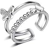 حلقات طبقة مزدوجة خواتم فراشة خواتم بيضاء تشيكوسلوفاكيا خاتم إصبع مجوهرات التفاف خاتم خاتم خواتم قابل للتعديل للنساء الفتيات