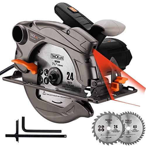 Sega Circolare 1500W con Guida Laser Tacklife PES01A Sega Elettrico 12.5A, 4500 RMP/m per Profondità di Taglio Regolabile 0-63mm (90°), 0-45mm (0-45°) Tagliare Legno, Metallo
