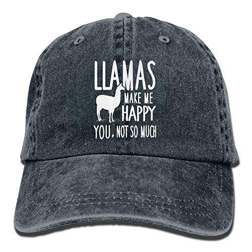 Preisvergleich Produktbild Llamas Make Me Happy You Not So Much Llamas Adult Sport Adjustable Baseball Cap Cowboy Hat