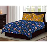 Bombay Dyeing Axia Designer Multi Color Floral On Blue Base Cotton 104 TC Double Bed Sheet With Two Floral Print Musturd Yellow Pillow Covers