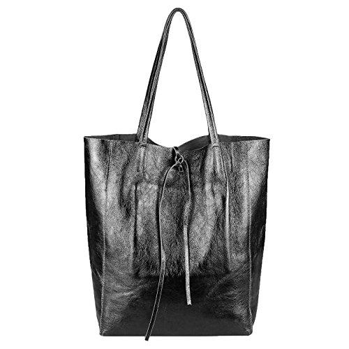 aa0f53fb6ef87 OBC Made in Italy DAMEN LEDER TASCHE DIN-A4 Shopper Schultertasche  Henkeltasche Tote Bag Metallic