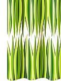 Lashuma Vinyl Duschvorhang 180x200 mit Ringen CIUFFI Transparent mit grünem Blattmuster, Badewannenvorhang Anti - Schimmel Effekt