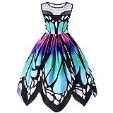 Vestido de Mujer, Dragon868 Verano Vintage Mariposa Vestidos de Fiesta sin Mangas para Las Mujeres (4XL