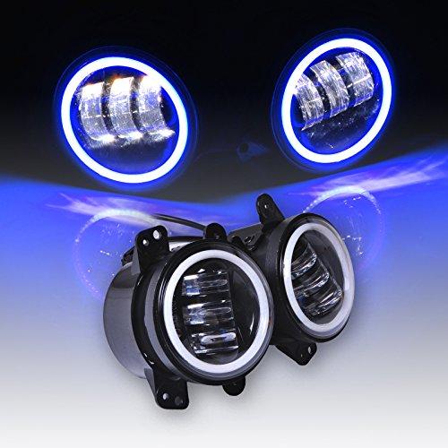 Preisvergleich Produktbild Omotor Jeep Wrangler Foglight Pair 60W 4 Inch Round Cree Led Fog Light Blue Halo Ring & White Lamp DRL Bulb Angle Eyes for Jeep Wrangler JK LJ TJ Headlight Auto Driving Offroad Lamp Accessories