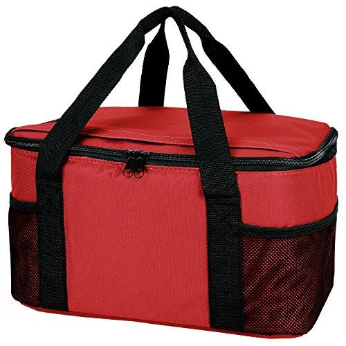 Praktische, leichte Kühltasche mit großem Hauptfach und 2-Wege Reißverschluss rot 37 x 20 x 27 cm (Hauptfach Großes)