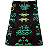 Hipiyoled Asian Pagoda Garden Repeat Cotton Bath Towels for Hotel-Spa-Pool-Gym-Bathroom - Super Soft Absorbent Ringspun Towels