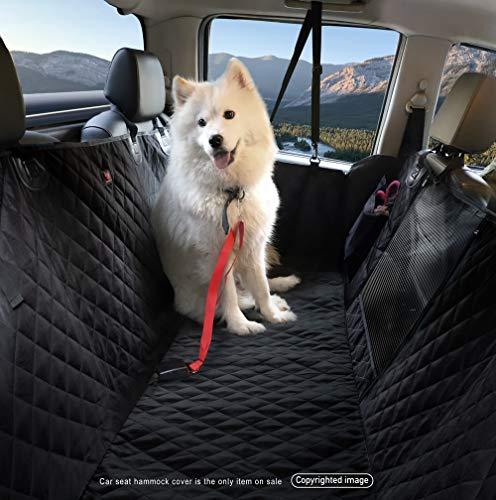 LEVSHA Autositzbezug für Hunde, wasserdicht, mit 4 Klett-Öffnungen, Edelstahl-Schnalle, kein Geruch, rutschfest, maschinenwaschbar, Schwarz, normal -