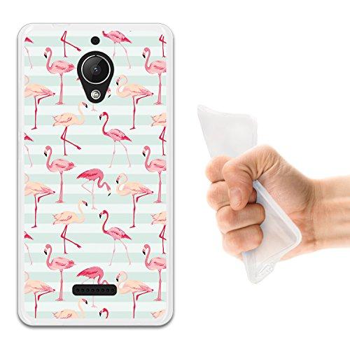WoowCase Wiko Tommy 2 Plus Hülle, Handyhülle Silikon für [ Wiko Tommy 2 Plus ] Retro Flamingo Handytasche Handy Cover Case Schutzhülle Flexible TPU - Transparent