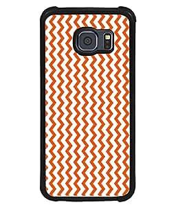 PrintVisa Designer Back Case Cover for Samsung Galaxy S6 Edge :: Samsung Galaxy S6 Edge G925 :: Samsung Galaxy S6 Edge G925I G9250 G925A G925F G925Fq G925K G925L G925S G925T (Orange Wavy Design)
