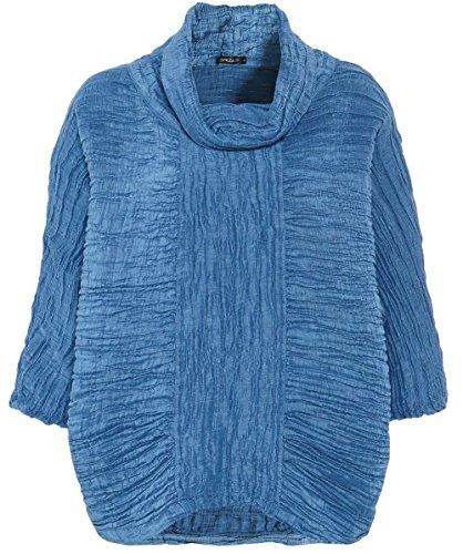 Grizas Damen Bettwäsche Motorhaube Oberteil M Preußisch-Blau (Tunika Seide Crinkle)