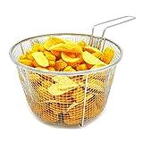 Best Utensilien Edelstahl Deep Fry Basket rund Drahtgitter ruht Fruit Sieb Füße und lange Griff Bratpfanne Kochen Werkzeug Lebensmittel Präsentation Geschirr, 23cm breit und 14cm tief