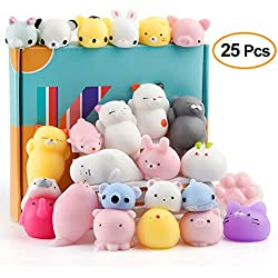 KUUQA 25 Stücke Mochi Squishy Spielzeug Kawaii Squishies Tiere Panda Katze Pfote Nette Mini Weiche Squeeze Stressabbau Ball Spielzeug